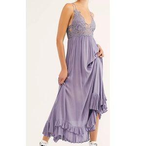 Free People Adella Maxi Slip Dress in Slate NWT